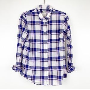 J. Crew Factory Purple Plaid Button Down Shirt